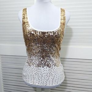 Bebe 2b White Scoop Neck Tee with Gold Sequins